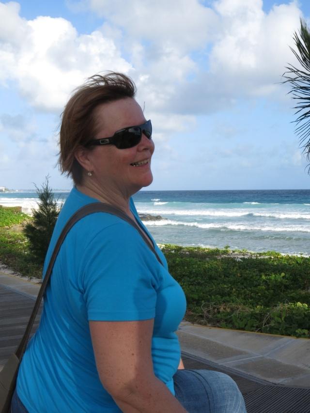 Susan enjoying the view in Bridgetown, Barbados