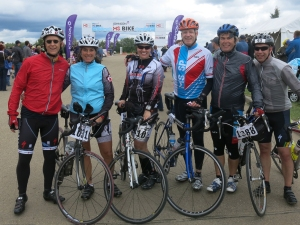 Some of Team Pronto at finish line.  (L-R) Mark, Anita, Lisa, James, Neil, Gord