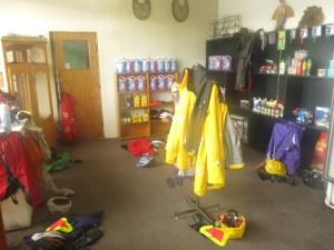 Rain gear hung to dry