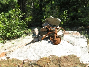 Inukshuk riding a bike
