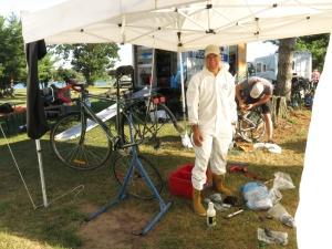 Alain working on his bike
