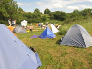 Tent city in Outlook
