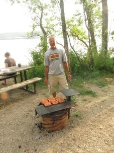 Danny cooking the smokies