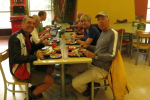Jacques, Alain, Rene-Lise at breakfast