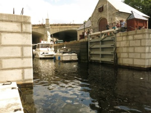 Boats entering lock