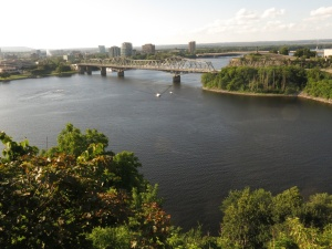 View From Parliament Hill of Ottawa River and mouth if Rideau Canal