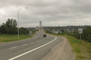 Approaching the bridge over the Miramichi