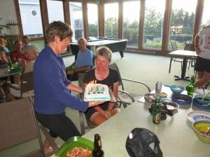 Myra delivering Elaine's Birthday Cake
