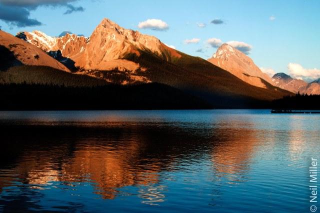 Sunset at Maligne Lake