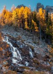 Waterfall with Larch trees above